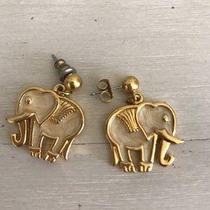 Vintage 80s Gold Tone Elephant Earrings
